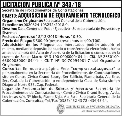 Licitación: Licitacion Publica 343 SGG SGG 2x7 ND