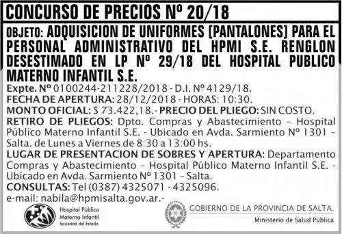 Licitación: Concurso de Precios 20 MSP HPMI 2x5 ND