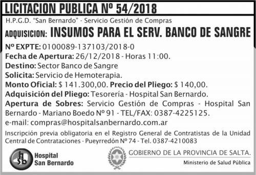 Licitación: Licitacion Publica 54 MSP SB 2x5 ND
