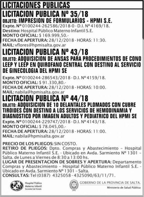 Licitación: Licitaciones Publicas 35 43 y 44 MSP HPMI 2x9 ND