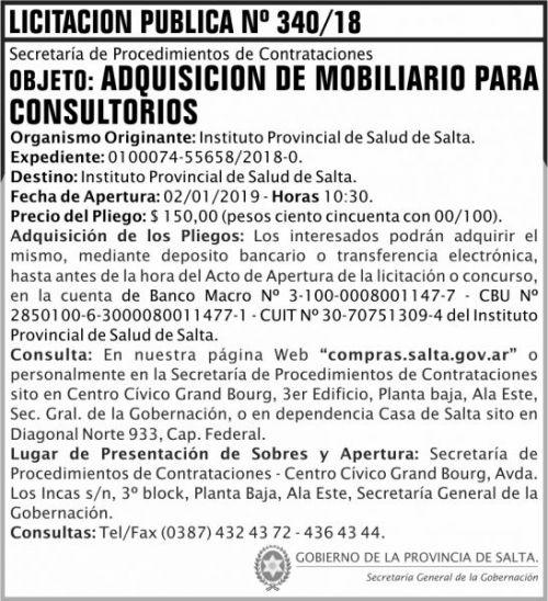 Licitación: Licitacion Publica 340 SGG IPS 2x8 ND