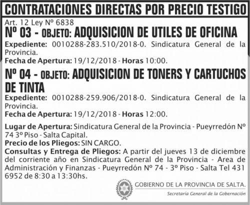 Licitación: Contratacion Directa 03 y 04 SGP 2x6 ND
