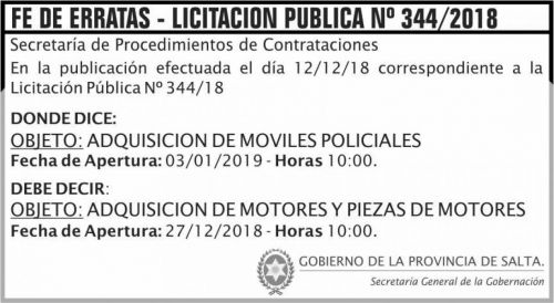 Licitación: Fe de Errata Licitacion Publica 344 SGG MS 2x4 ND