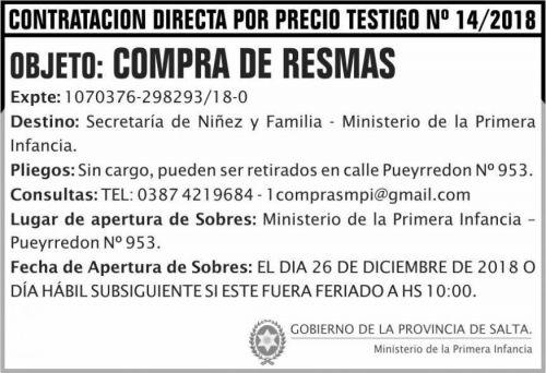 Licitación: Contratacion Directa precio testigo 14 MPI 2x5 ND
