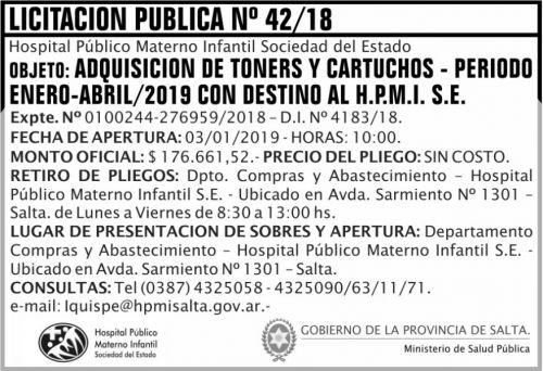 Licitación: Licitacion Publica 42 MSP HPMI 2x5 ND