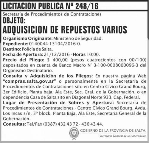 Licitación: Licitación Pública Nº 248/16