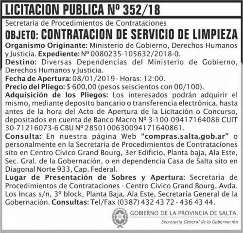 Licitación: Licitacion Publica 352 SGG MGDHJ SP 2x7 ND
