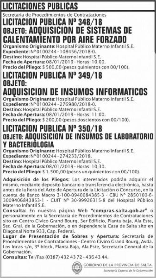 Licitación: Licitacion Publica 348 349 y 350 SGG HPMI 2x13 ND