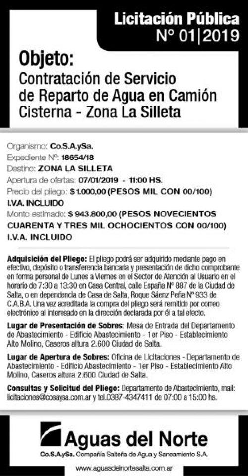 Licitación: AGUAS DEL NORTE 2X14