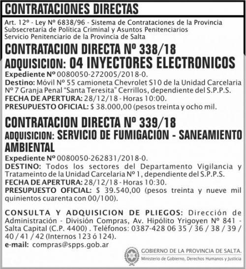 Licitación: Contratacion Directa 338 y 339 SPPS MDHJ 2x8 ND