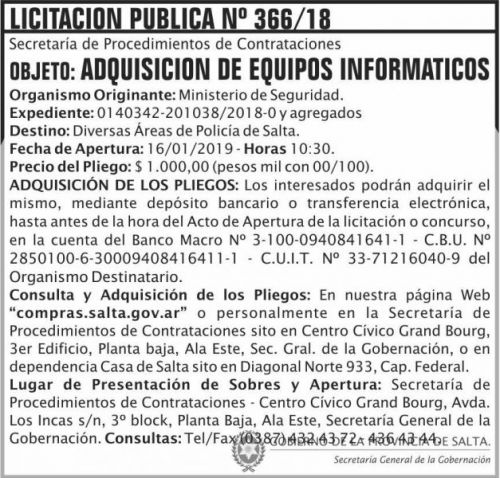 Licitación: Licitacion Publica 366 SGG MS 2x7 ND