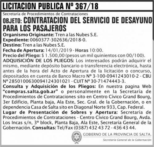 Licitación: Licitacion Publica 367 SGG TN 2x7 ND