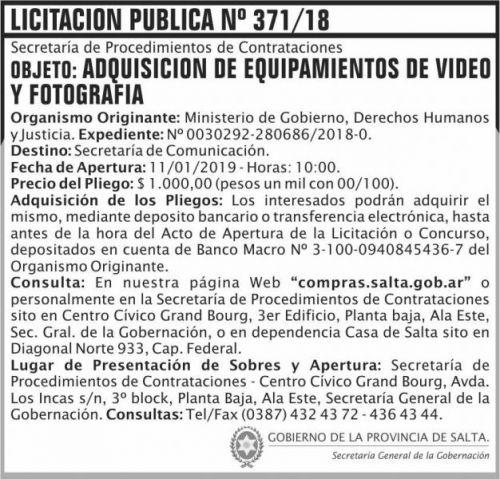 Licitación: Licitacion Publica 371 SGG MGDHJ SP 2x7 ND