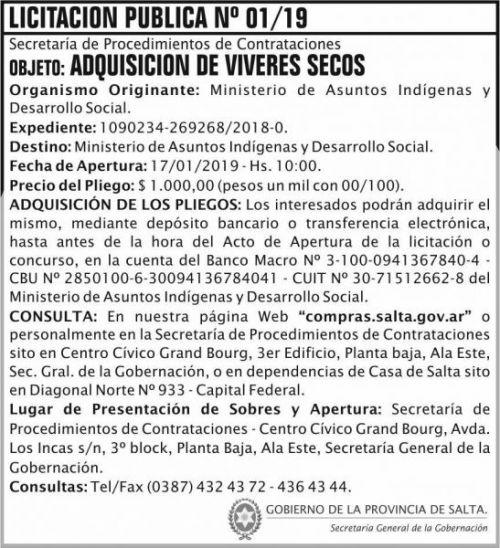 Licitación: Licitacion Publica 01 SGG MAIDS 2x8 ND