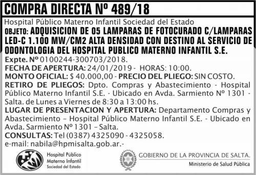 Licitación: Compra Directa 489 MSP HPMI 2x5 ND