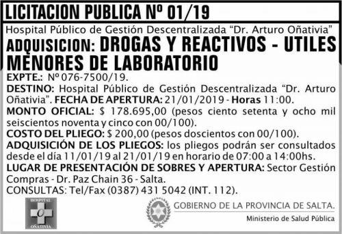 Licitación: Licitación Pública 01 MSP Oñativia 2x5 ND