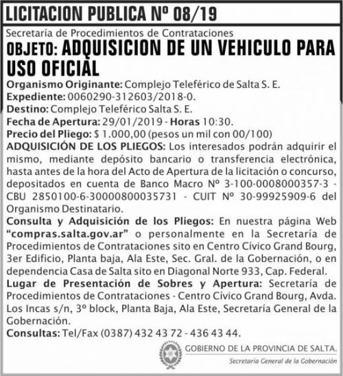 Licitación: Licitacion Publica 08 SGG CTS 2x8 ND