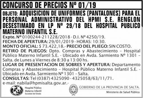 Licitación: Concurso de Precios 01 MSP HPMI 2x5 ND