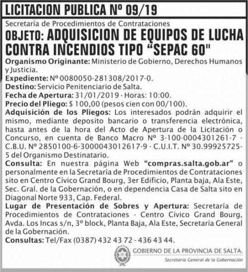 Licitación: Licitacion Publica 09 SGG MGDHJ SP  2x8 ND