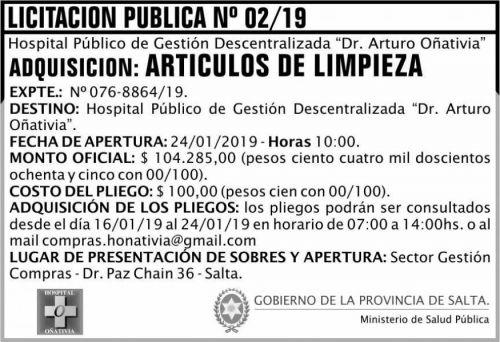 Licitación: Licitación Pública 02 MSP Oñativia 2x5 ND