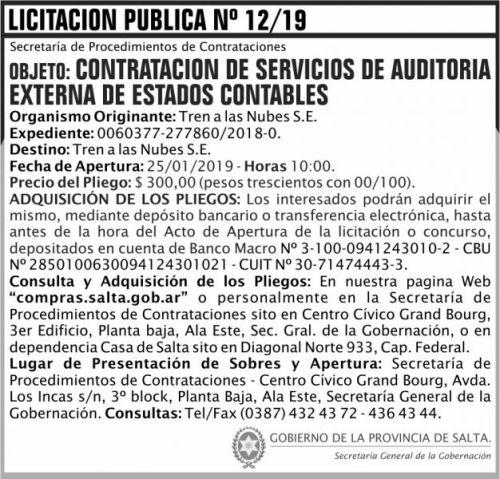 Licitación: Licitacion Publica 12 SGG TN 2x7 ND