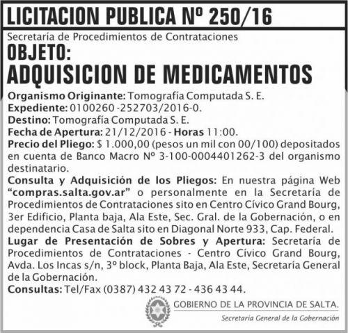 Licitación: Licitación Pública Nº 250/16