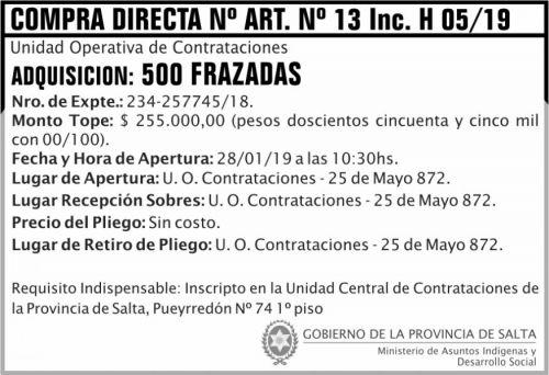 Licitación: Compra Directa 05 art 13H MAIDS 2x5 ND