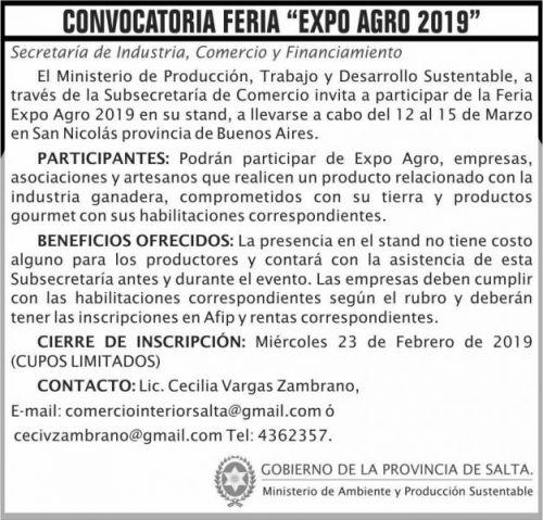 Licitación: Convocatoria FERIA Expo Agro 2019 MAPS 2x7 ND
