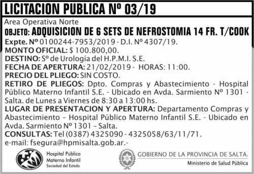 Licitación: Licitacion Publica 03 HPMI AON MSP 2x5 ND