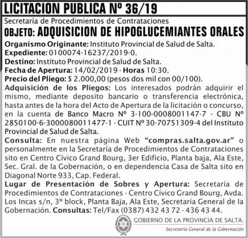 Licitación: Licitacion Publica 36 SGG IPS 2x7 ND