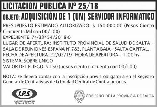 Licitación: Licitacion Publica 25 IPS 2x5 ND