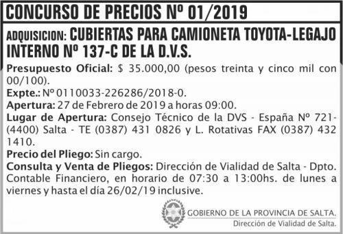 Licitación: Concurso de Precios 01 DVS 2x5 ND
