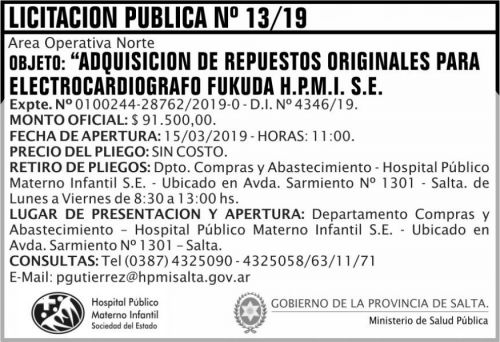 Licitación: Licitacion Publica 13