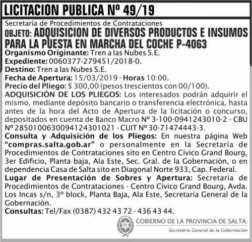 Licitación: Licitacion Publica 49