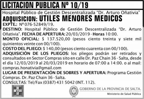 Licitación: Licitación Pública 10 MSP Oñativia