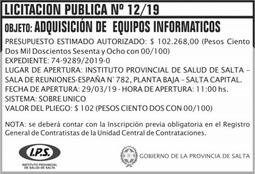 Licitación: Licitacion Publica 12 IPS