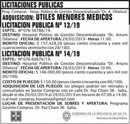 Licitación: Licitación Pública 13 y 14 MSP Oñativia