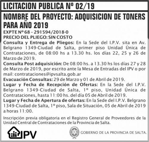 Licitación: Licitacion Publica 02 IPV