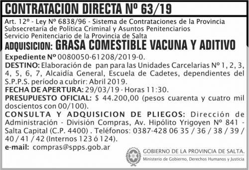 Compra Directa: Contratacion Directa 63 SPPS MDHJ