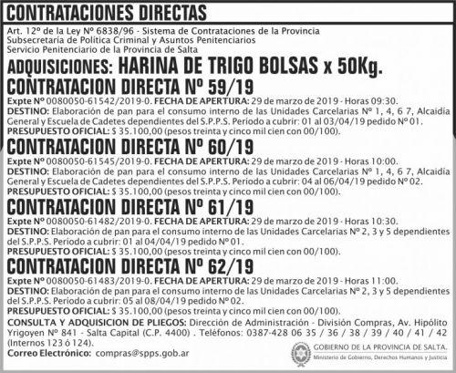 Concurso de Precios: Contratacion Directa N 59 a 60 SPPS MDHJ