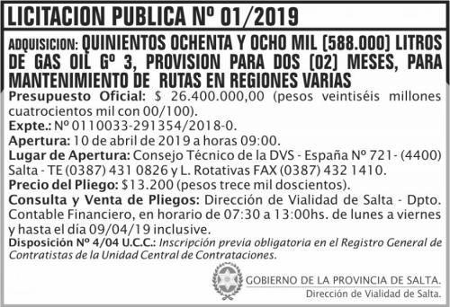 Licitación: Licitación Publica 01 DVS