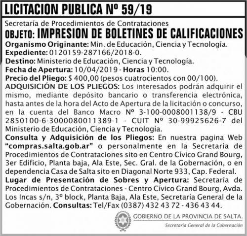 Licitación: Licitacion Publica 59 SGG MECT