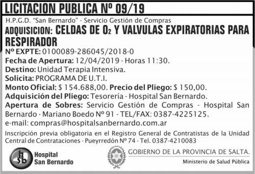 Licitación: Licitacion Publica 09 MSP SB