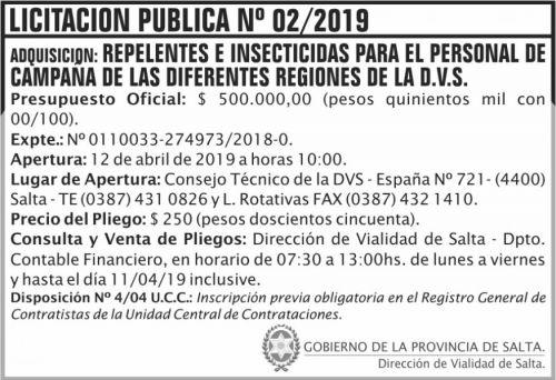 Licitación: Licitación Publica 02 DVS