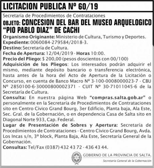 Licitación: Licitacion Publica 60 SGG MCTD