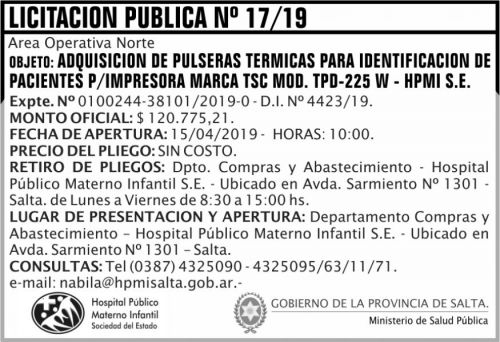 Licitación: Licitación Pública N 17