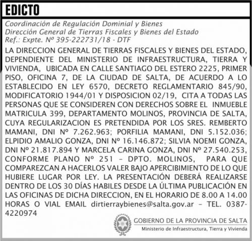 Edictos / Comunicados: EDICTO Matricula 399 MITV