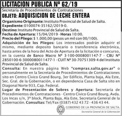 Licitación: Licitacion Publica 62 SGG IPS