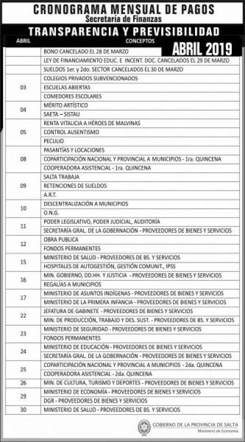 Cronogramas: Cronograma de pagos ABRIL 2019