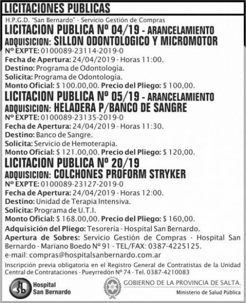Licitación: Licitacion Publica 04 05 y 20 MSP SB